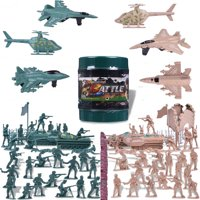 Army Toy Soldiers Military World War 2 WW II Parties Combat Toys for Kids Cjristmas Special Forces with a Map, Tanks, Planes, Flags, Soldier Figures, Fences Accessories 232 PCs F-127
