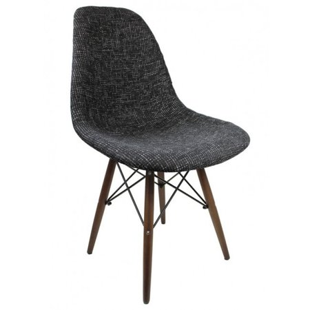 Eames Fabric Side Chair Dark Wood Eiffel Leg Contemporary Retro Molded style Woven Fabric Slope Side Plastic Dining Chair with Dark Wood Eiffel Legs