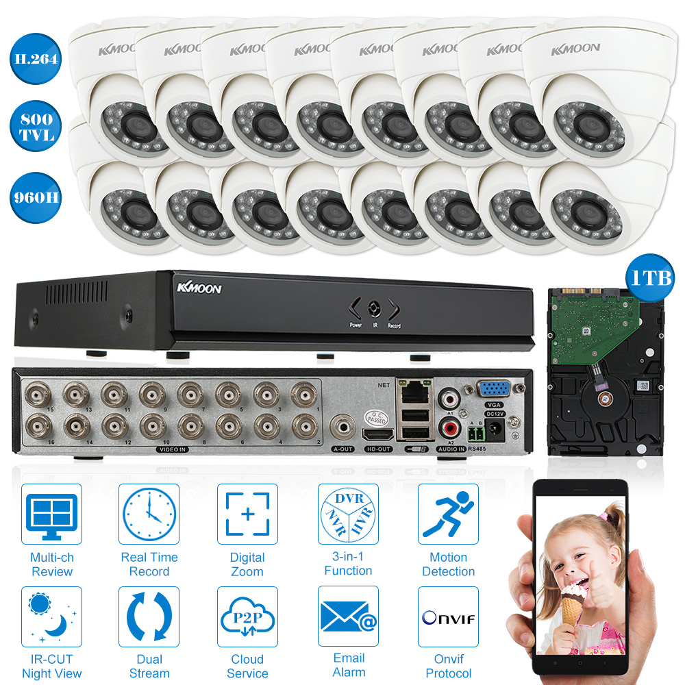 KKmoon 16-Channel H.264 960H/D1 DVR Security System with 8/12/16pcs 800TVL IR-CUT Night View CCTV Camera for Home Surveillance