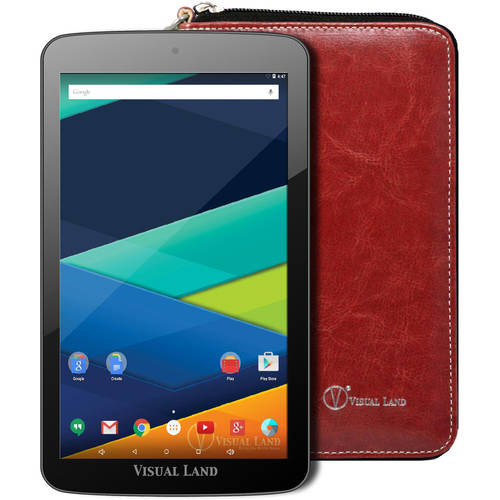 """Visual Land Prestige Elite 7"""" Tablet 16GB Quad Core Lollipop with Wallet Case"""