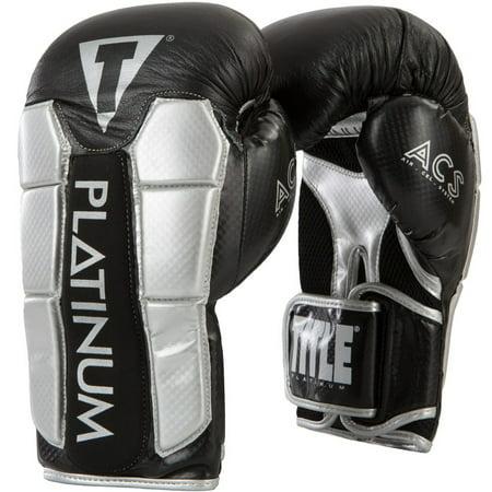 Title Boxing Platinum Pinnacle ACS Hook and Loop Bag Gloves - Black/Silver