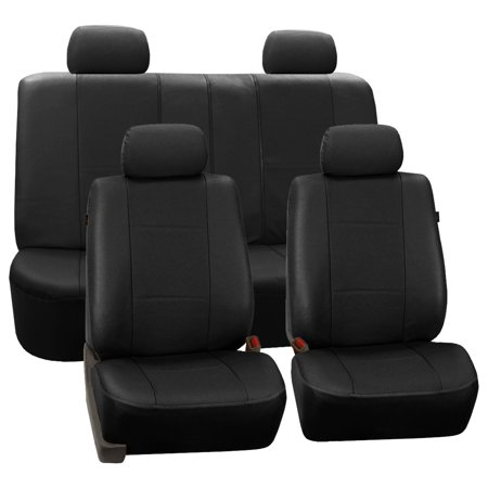 FH Group Black Deluxe Faux Leather Airbag Compatible and Split Bench Car Seat Covers, 4 Headrest Full Set