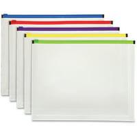 Pendaflex, PFX85292, Color Zipper Poly Envelopes, 5 / Pack, Assorted