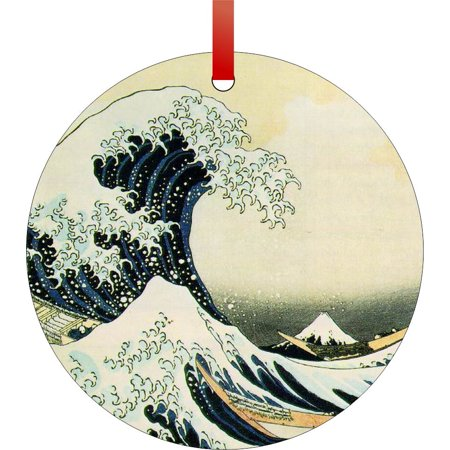 The Great Wave Off Kanagawa Painting by Hokusai - Rosie Parker Inc. TM - Double-Sided Round-Shaped Flat Aluminum Christmas Holiday Hanging Ornament Made in the USA!