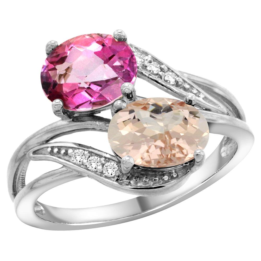 10K White Gold Diamond Natural Pink Topaz & Morganite 2-stone Ring Oval 8x6mm, sizes 5 10 by WorldJewels