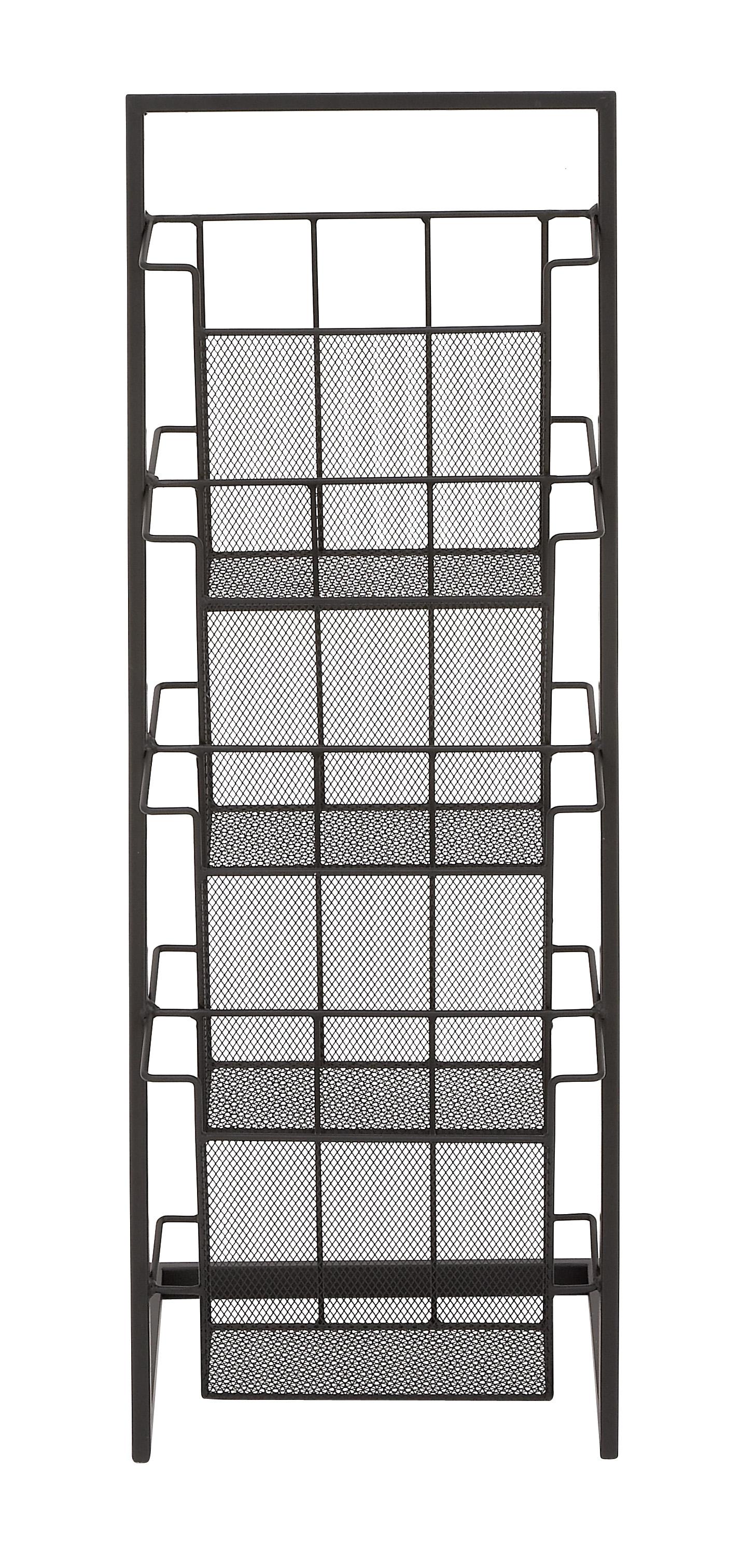 Decmode Modern 33 Inch 4-Tiered Metal Magazine Rack, Black by DecMode