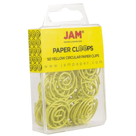 JAM Circular Paper Clips, Round Paperclips, Yellow, 50/Pack - image 1 of 3