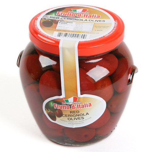 Red Bella di Cerignola Olives in Glass Jar