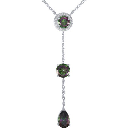 Sterling Silver Plated Simulated Mystic Topaz and CZ Drop Pendant