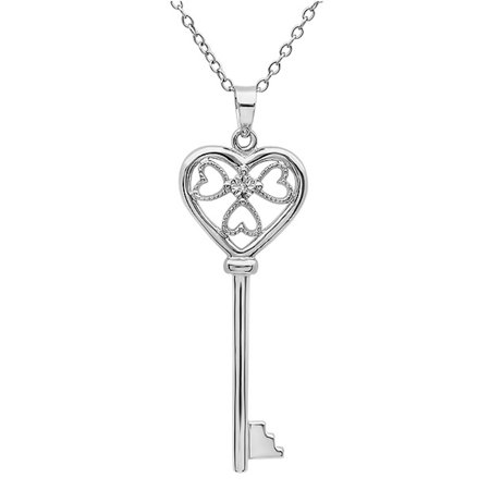 Diamond Key to Her Heart Pendant-Necklace in Sterling