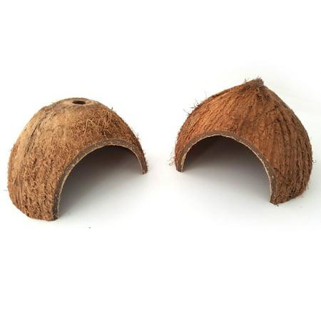 1PCS Cute Natural Coconut Shell Hiding House Cave for Reptile Little Pet Perforation](Coconut Decorations)
