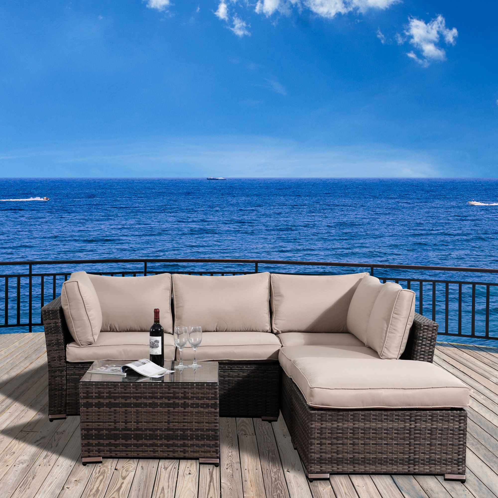 Outdoor Patio Furniture Sets Clearance, 4 Piece Ratten