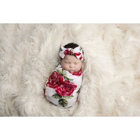 Newborn Baby Infant Girl Boy Swaddle Wrap Blanket Sleeping Bag+Headband Outfits - Swaddle Outfit