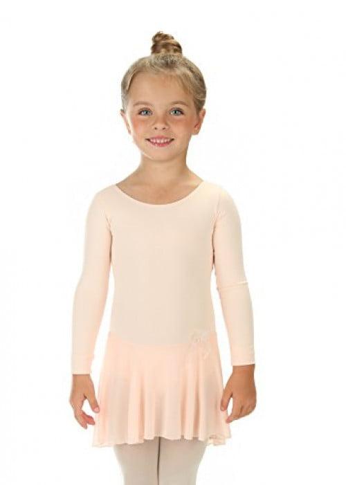 Elowel Girls Ruffle Long Sleeve Skirted Leotard Nude Pink -1152