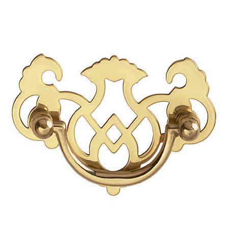 Chippendale Bail Pull Bright Solid Brass 2 (Brass Chippendale Style Bail Pull)