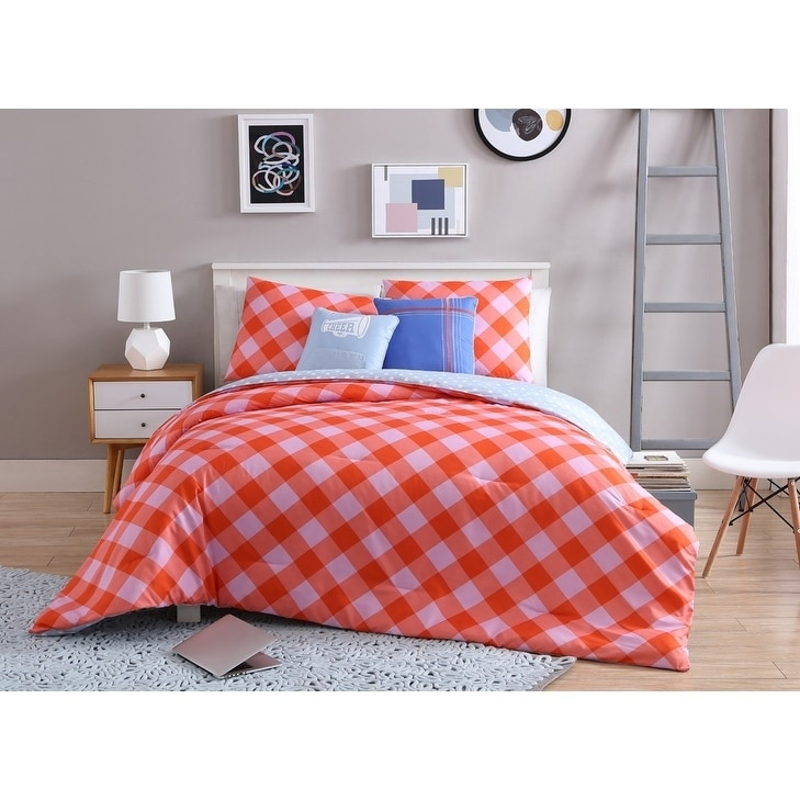 VCNY Home Coral Girls Checker 4/5 Piece Comforter Bedding Set, Shams and Decorative Pillows Included