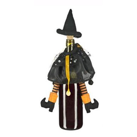 Black & Orange Wicked Witch Halloween Wine Bottle Decoration & Cork by Ganz - Halloween Cork 2017