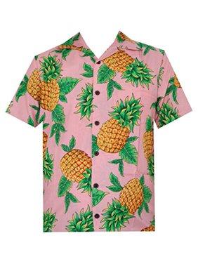 Hawaiian Shirts 50 Mens Pineapple Leaf Beach Aloha Casual Holiday Peach L
