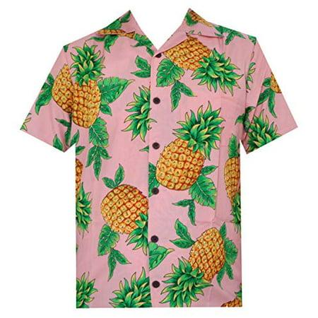 Hawaiian Shirts 50 Mens Pineapple Leaf Beach Aloha Casual Holiday Peach (Leaves Mens Aloha Shirt)