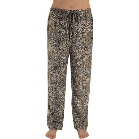 Animal With Womens (Womens Soft Microfleece Leopard Pajama Pants Animal Print Lounge)