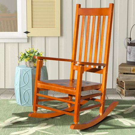 Merax Solid Wood Country Plantation Porch Rocking Chair Outdoor Patio Chair (Oak)