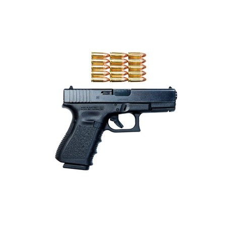 Glock Model 19 handgun with 9mm ammunition Poster Print by Terry MooreStocktrek