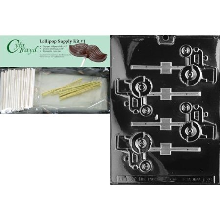 Cybrtrayd 45Stk25g J035 Tractor Lolly Chocolate Candy Mold With Lollipop Supply Kit  25 Lollipop Sticks  25 Cello Bags And 25 Gold Metallic Twist Ties