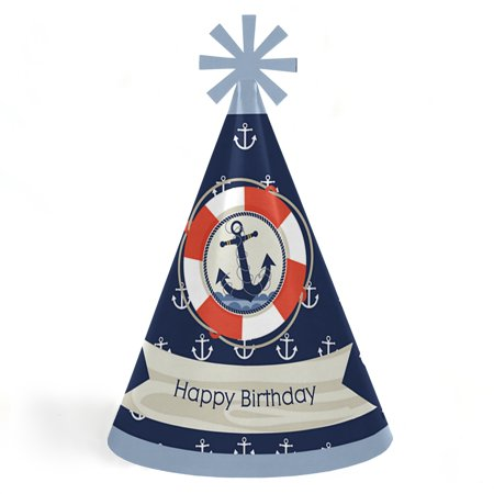 Ahoy - Nautical - Cone Happy Birthday Party Hats for Kids and Adults - Set of 8 (Standard Size) - Birthday Party Hats For Adults