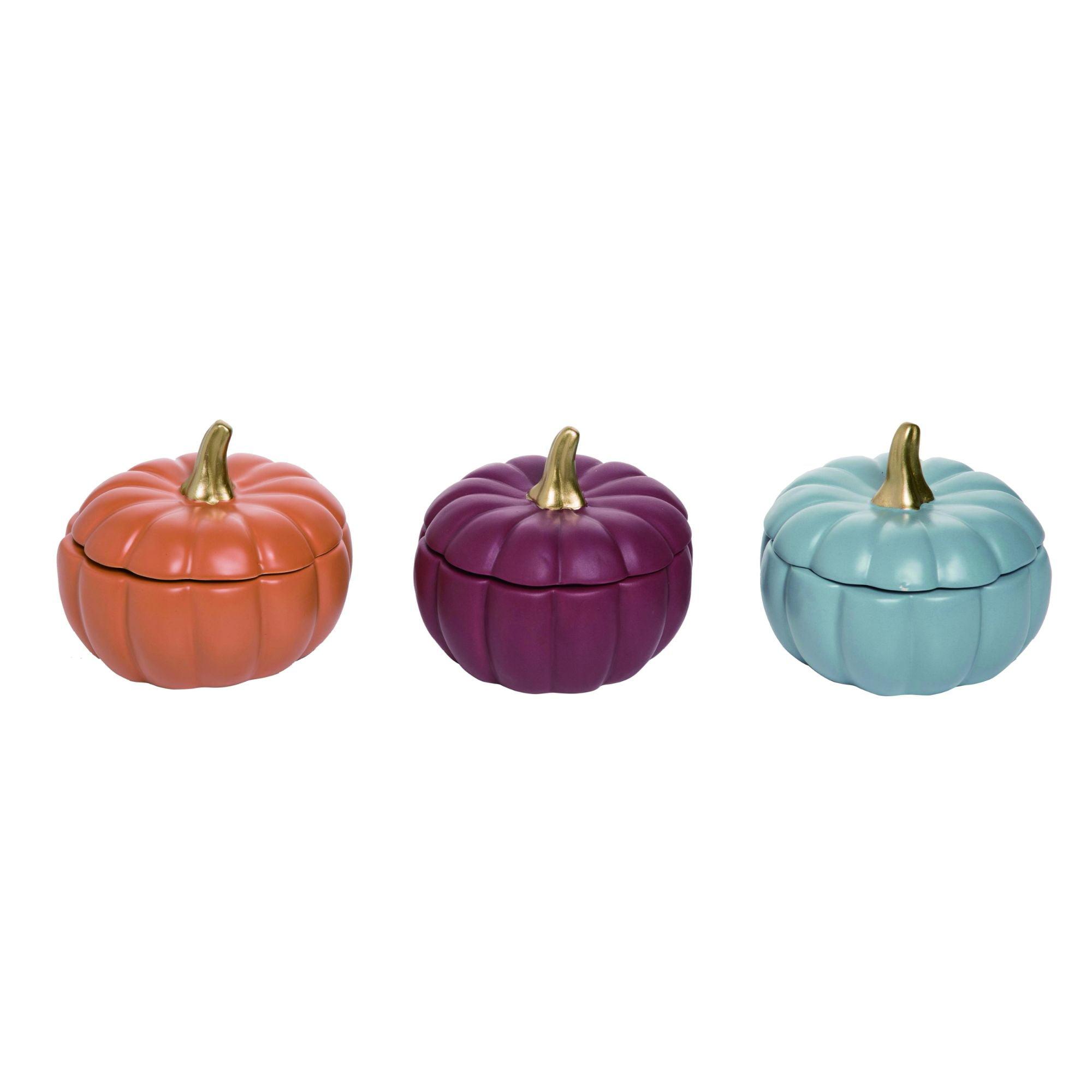 Set of 2 Ornamental Table Pumpkins in Purple Black /& Orange