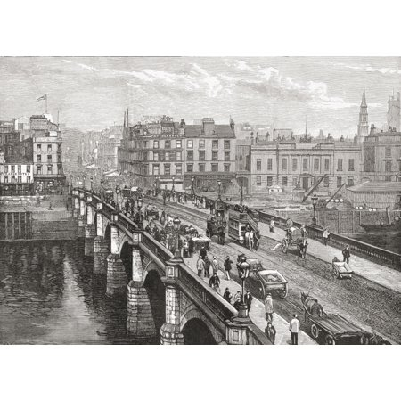 The Broomielaw Bridge Over The River Clyde Glasgow Scotland In The Late 19Th Century From Our Own Country Published 1898 Stretched Canvas - Ken Welsh  Design Pics (34 x (Our Country's Good Costumes)