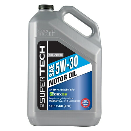 Super tech full synthetic 5w30 motor oil 5 qt for Top rated motor oil synthetic