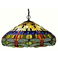 "CHLOE Lighting SCARLET Tiffany-style 3 Light Dragonfly Inverted Ceiling Pendant 24"" Shade"