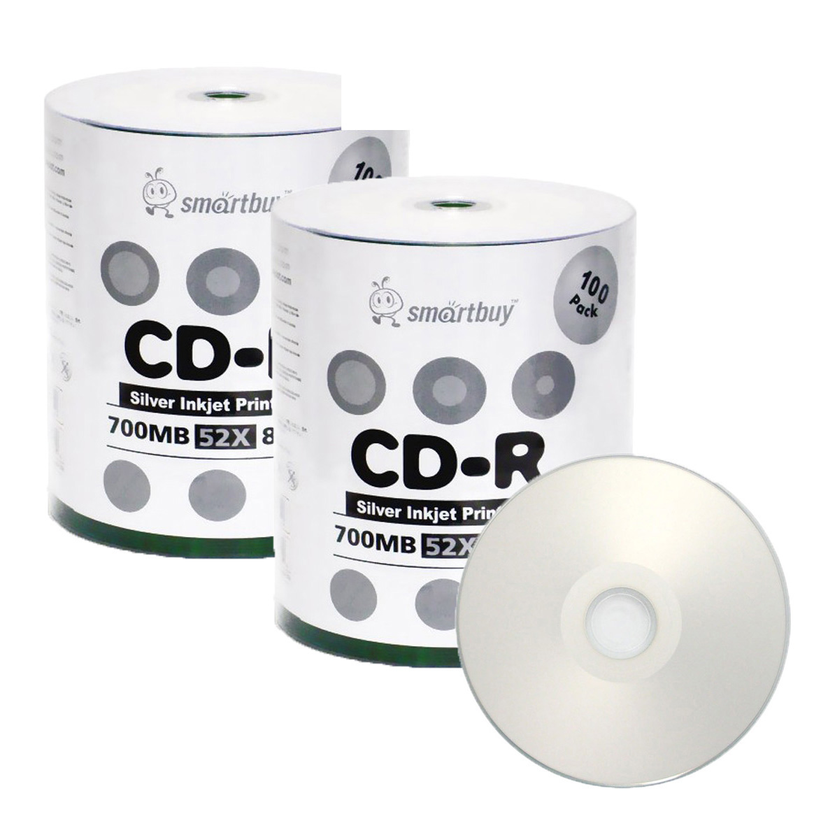 graphic relating to Cd R Printable named 200 Pack Smartbuy 52X CD-R 700MB 80Min Silver Inkjet Hub Printable Details Blank Media Recordable Disc