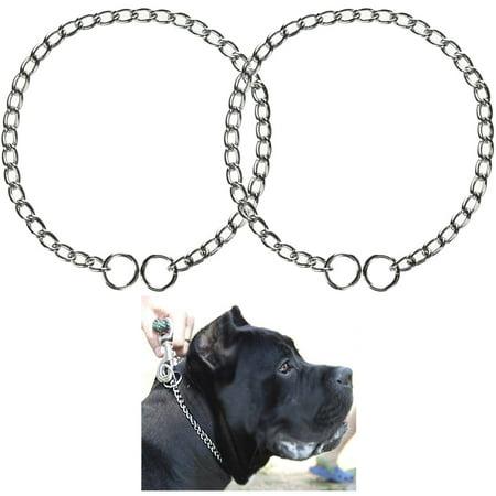 "2 Pc Dog Puppy Training Choke Chain Giant Slip Collar Metal Heavy Duty 18.5"""