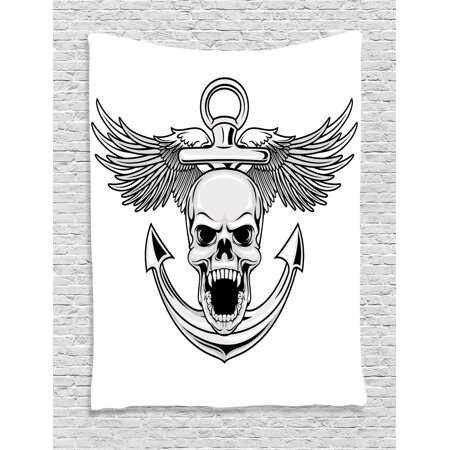 Anchor Decor Wall Hanging Tapestry, Skull With Anchor And Eagle Wings Freedom Symbol Devil Sea Hunter Skeleton Myth Graphic, Bedroom Living Room Dorm Accessories, By - Hunter Skeleton