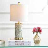 "Swirl 20.5"" Ceramic LED Table Lamp, Gray/Green"