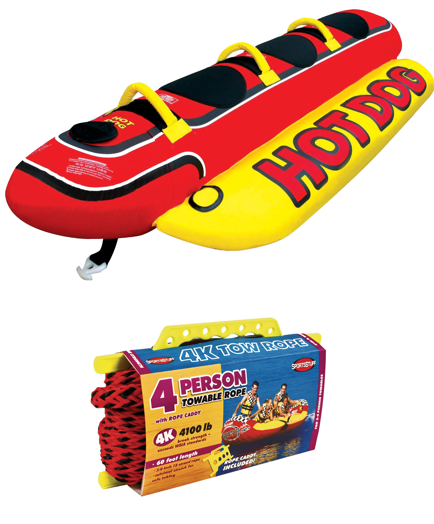 AIRHEAD HD-3 Hot Dog Triple Rider Towable Inflatable 3-Person Tube w  Tow Rope by Kwik Tek