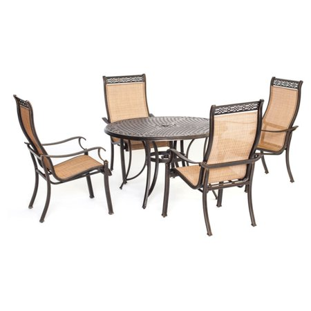 Hanover Manor Aluminum 5 Piece Round Patio Dining Set