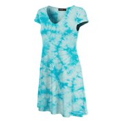 MBJ WDR1088 Womens All Over Tie Dye V Neck Cap Sleeve T Shirt Dress L AQUA