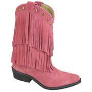 Smoky Mountain Girl's Wisteria Pink Double Fringe Leather Cowboy Boots 3513