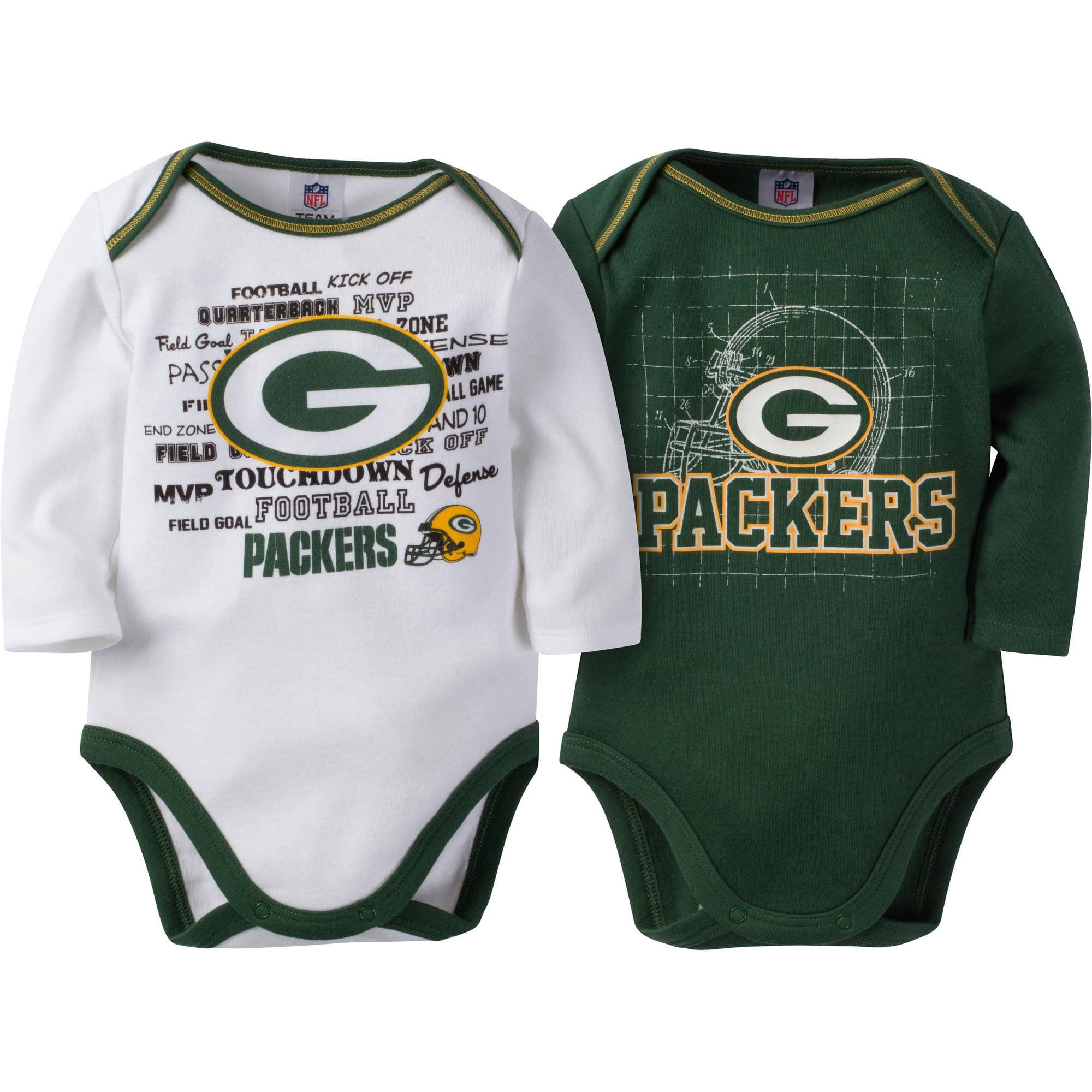 NFL Green Bay Packers Baby Boys Long Sleeve Bodysuit Set, 2-Pack