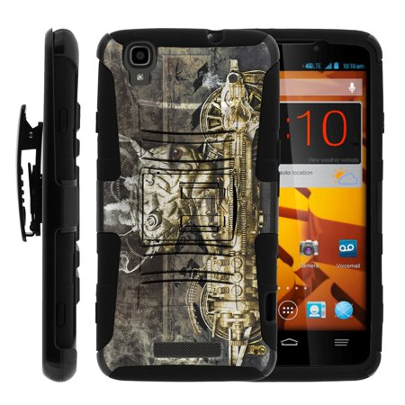 TurtleArmor ® | For ZTE Max Boost | ZTE Max | ZTE Max+ (Plus) [Hyper Shock] Hybrid Dual Layer Armor Holster Belt Clip Case Kickstand - Steampunk Machine (Steampunk Suit)