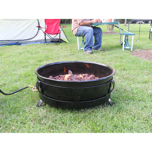 King Kooker Portable Propane Outdoor Fire Pit with Porcelain Plated Bowl