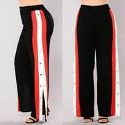 Fashion Womens Split Side Buttons Wide Leg Jogger Casual Long Pants Trousers High Waist Size M