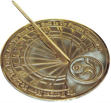 Rome Rome Gardener's Reflection Sundial Solid Brass Verdigris by