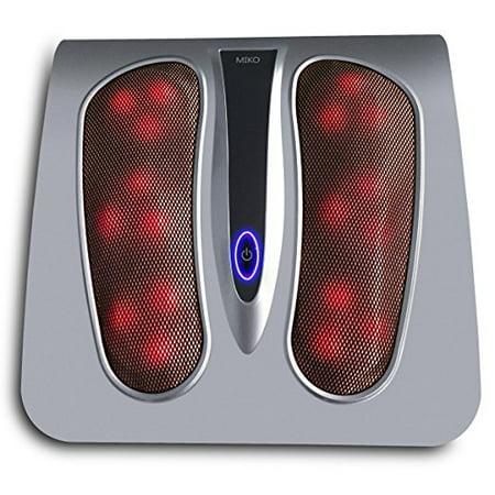 Miko Shiatsu Foot Massager Deep Kneading Massage Therapy With Heat Portable (Silver) - Foot Massager Massage Device