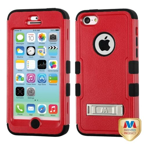 INSTEN Natural Red/Black TUFF Hybrid Phone Case Cover w/Stand For APPLE iPhone 5C 16GB 32GB