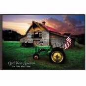 "Mounted Print-God Bless America/Tractor & Flag (18"" x 12"")"