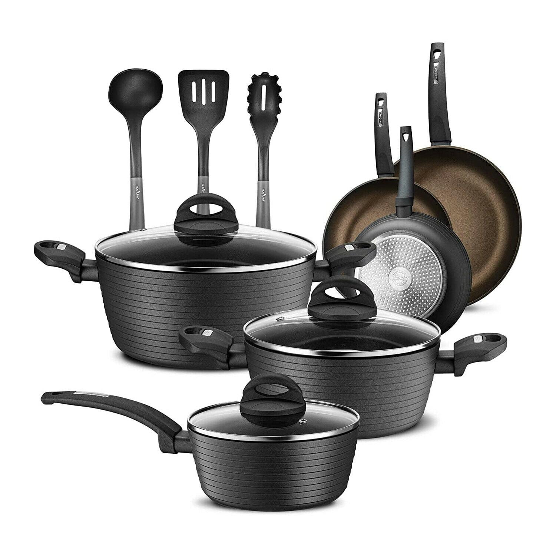Nutrichef Ridge Line Nonstick Kitchen Cookware Pots And Pan 12 Piece Set Gray Walmart Com Walmart Com