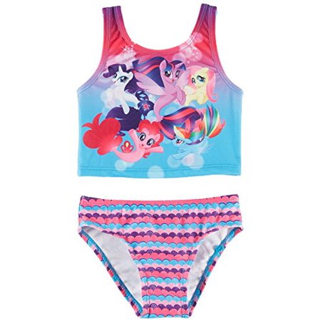 my little pony toddler girls strappy tankini swimsuit 4t pink multi
